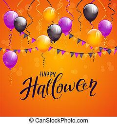 Text Happy Halloween and decoration on orange background
