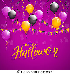 Text Happy Halloween and decoration on purple background