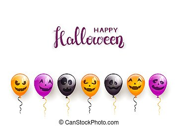 Text Happy Halloween and Scary Balloons