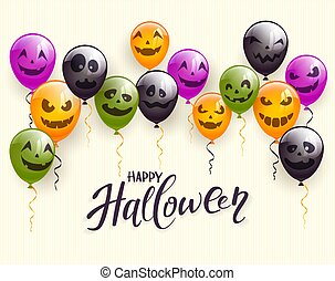 Text Happy Halloween and Set of Scary Balloons
