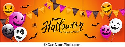 Text Happy Halloween with Scary Balloons and Spiders on Orange Background