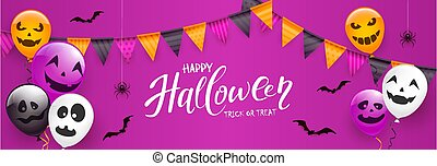 Text Happy Halloween with Scary Balloons and Spiders on Purple Background