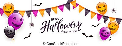 Text Happy Halloween with Scary Balloons and Spiders on White Background