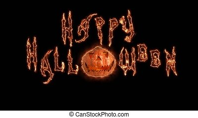 Text Happy Word Halloween animation of magic fire lines . Black background