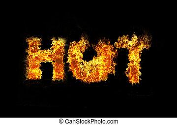Feuer, text, heiß, verkauf. Flames., heiß, wörter, verkauf, flammen.