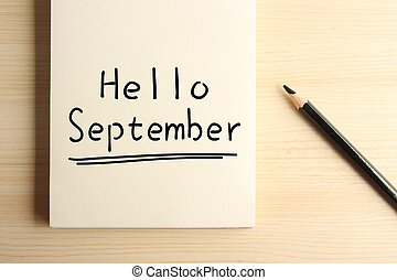 Hello September - Text Hello September with underline on the...