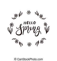Text Hello Spring with flowers