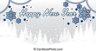 text., heureux, arbre pin, année, nouveau, flocons neige, paysage, colline, hiver