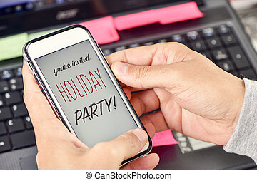 text holiday party on a smartphone