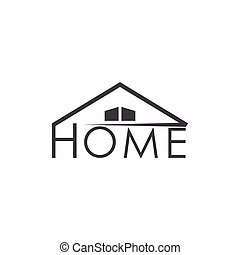 text home roof simple logo vector