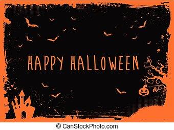 text, hus, apelsin, halloween, lycklig, slagträ, gräns, pumpa, baner