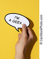text I am a geek in a speech balloon