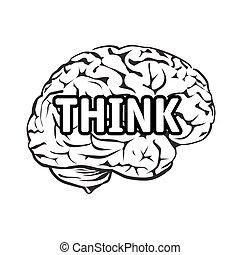 text, idé, illustration, vektor, brain., mänsklig