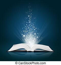 text, idé, på, öppna, vit, bok