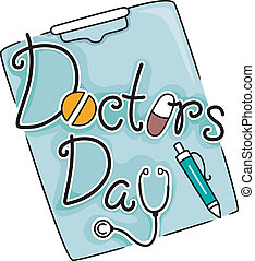 Doctor's Day - Text Illustration Celebrating Doctor's Day