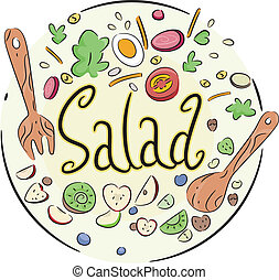 Vegetable Salad - Text Illustration of a Vegetable Salad in...