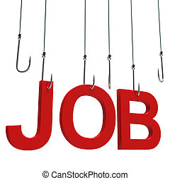 """Text """"Job"""" hanging on a hook."""