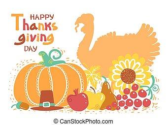 text., jour, thanksgiving, oiseau, manuscrit, beau, carte, heureux, vecteur, turquie, automne