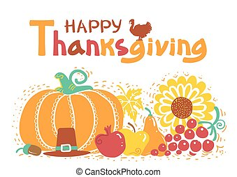text., jour, thanksgiving, vecteur, manuscrit, beau, carte, heureux, illustration, automne