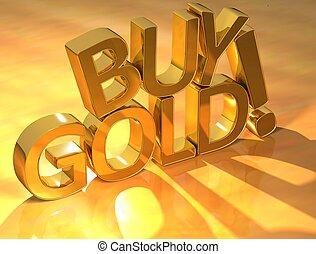 text, köpa, guld