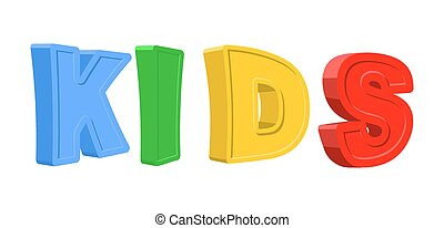 Text KIDS of colorful cartoon characters. Vector illustration