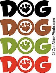 text, liebe, hund, sammlung, pfote