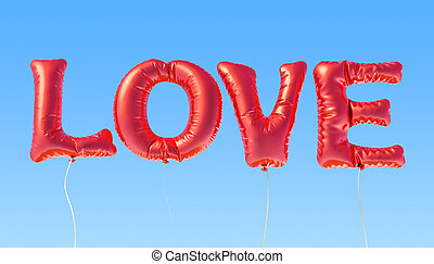Text love from red foil balloons on the blue sky, 3D rendering