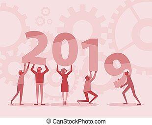 text, mannschaft, 2019, hintergrund, jahr, neu , halten, rotes , glücklich