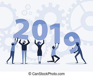 text, mannschaft, 2019, jahr, neu , halten, glücklich