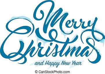 Text Marry Christmas with snow and ice on white background.