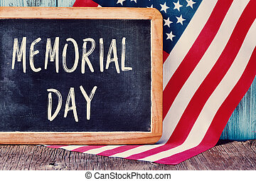 text memorial day and flag of the United States - the text...