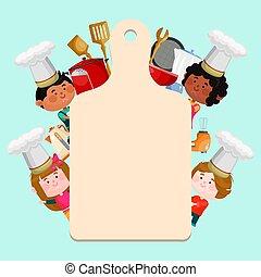 text., menu, caractères, chefs, chapeaux, dessin animé, gabarit, gosses, ou, peu, bannière, vide, illustration., planche, fond, vecteur, classes, cuisine, gabarits