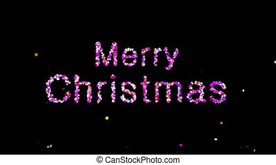 Text Merry Christmas Appearing From Confetti Explosions On Black Background With Alpha matte.