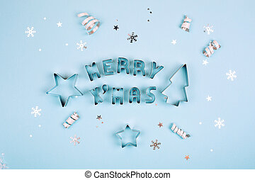 Text Merry Christmas on blue background