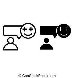 Text message and person line and glyph icon. Speech bubble with smiling emoji and user vector illustration isolated on white. Chat with happy emoji and human outline style design, designed for web and app. Eps 10.