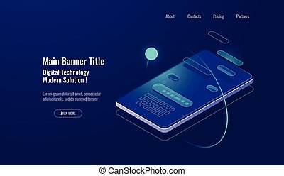 Text message isometric, mobile chat dialog, messenger concept, mobile phone keyboard, chatbot, support online, feedback application dark neon vector