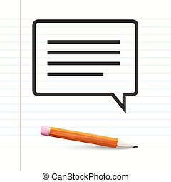 Text Message on Notebook Paper with Pencil. Vector.