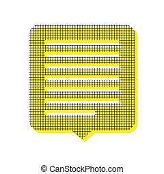 Text message sign illustration. Vector. Yellow icon with square