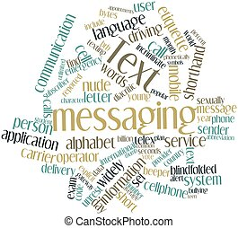 Text messaging - Abstract word cloud for Text messaging with...