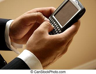 Mobile Businessman Sending A Text Message