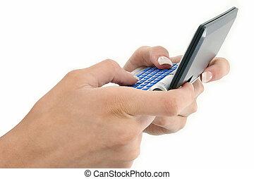 Text Messenger - Woman's hands on a text messenger against...