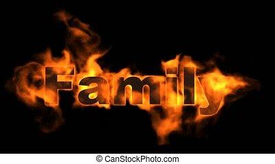 text., mot, brûler, famille