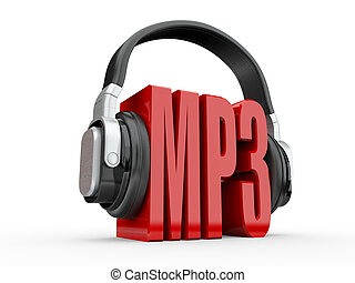 Text MP3 and handphones. 3d - Text MP3 and handphones on ...