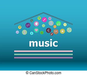 Text Music on digital background. Social concept