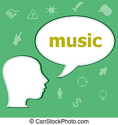 Text Music on digital background. Social concept . Head with speech bubble