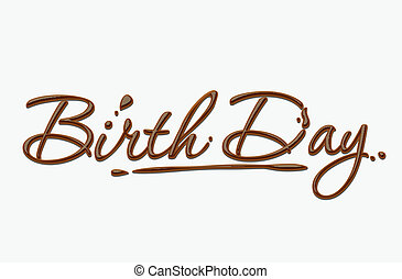 text, narozeniny, čokoláda