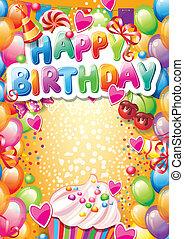 text, narozeniny, bydliště, šablona, karta, šťastný