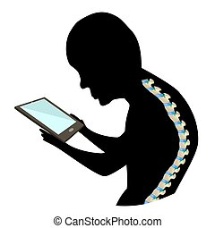 Text Neck Syndrome. Spinal curvature, kyphosis, lordosis of the neck, scoliosis, arthrosis. Improper posture and stoop. Black and white silhouette icon. Infographics. Vector illustration