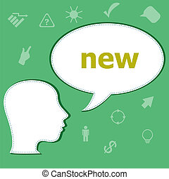 Text New on digital background. Education concept . Head with speech bubble