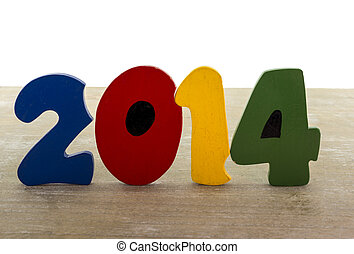 text new year 2014 in wooden letters blue red green yellow